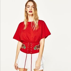 Red jersey corset top